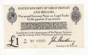 Bradbury 1 Pound issued 1914, serial T/64 (T11.1, Pick349a) pinholes, pressed VF+