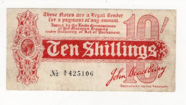 Bradbury 10 Shillings issued 1914, FIRST RUN serial A/1 425106, No. with dash (T9, Pick346) small