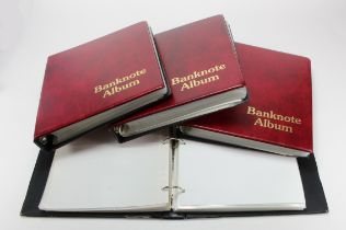 Albums, Banknote albums (4), good albums all with sleeves, Red finish, used