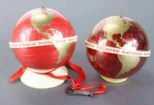 Money box (2), plastic Globe design, Preston Trustee Savings Bank locked with no key and Heart of