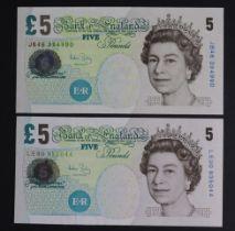 Bailey 5 Pounds (2), issued 2004, rare FIRST RUN 'JB46' prefix and LAST RUN 'LE90' prefix, serial