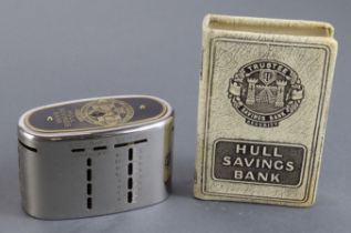 Money box (2), Hull Savings Bank, oval money box/home safe number 32343, without key, plus book