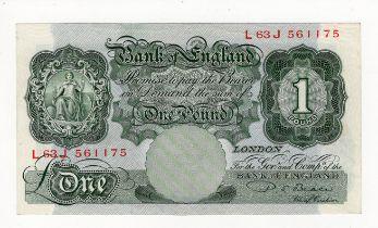 Beale 1 Pound issued 1950, a rare LAST RUN 'L63J' prefix, serial L63J 561175 (B268, Pick369b)