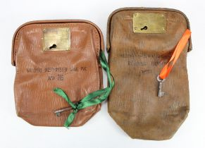 Night safe bag (2), leather Westminster Bank Limited, Reading Branch, No.20 with key, plus no. ww716
