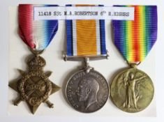 1915 Star Trio to 1418 Cpl M A Robertson R.Highrs. (Sjt on pair). Served 4th Bn, later 7th Bn