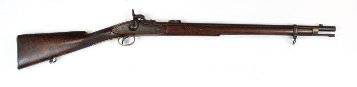 South African mid 19th century Volunteers short rifle with 26 inch barrel, with single barrel band