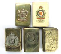 "Collection of WW1 period and Trench Art Matchbox Covers. ""The London Rifle Brigade"", ""Dunkerque"", """