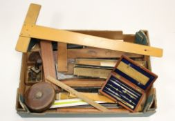 Drawing & Measuring. A collection of drawing & measuring related items, including a cased drawing