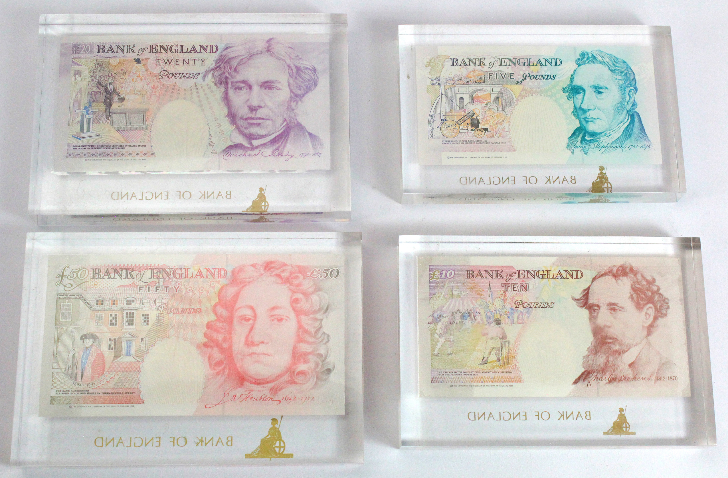 Bank of England (4), a nice set of FIRST RUN notes with MATCHING serial numbers A01 002100, - Image 2 of 2