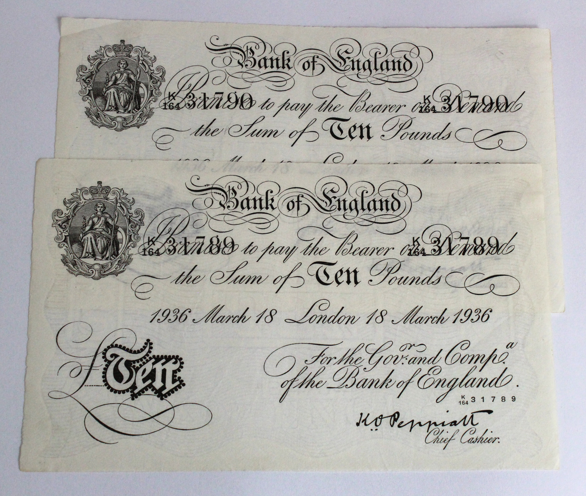 Peppiatt BERNHARD note (2), 10 Pounds dated 18th March 1936, a very RARE consecutively numbered