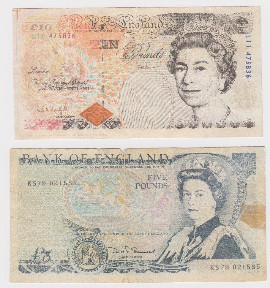 FORGERY (2), Kentfield 10 Pounds serial number L11 475836 (B366 for type), Somerset 5 Pounds