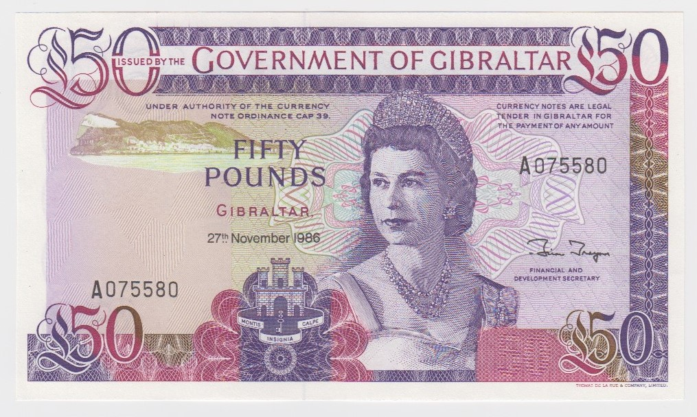 Gibraltar 50 Pounds dated 27th November 1986, serial A075580 (TBB B122a, Pick24) crisp Uncirculated