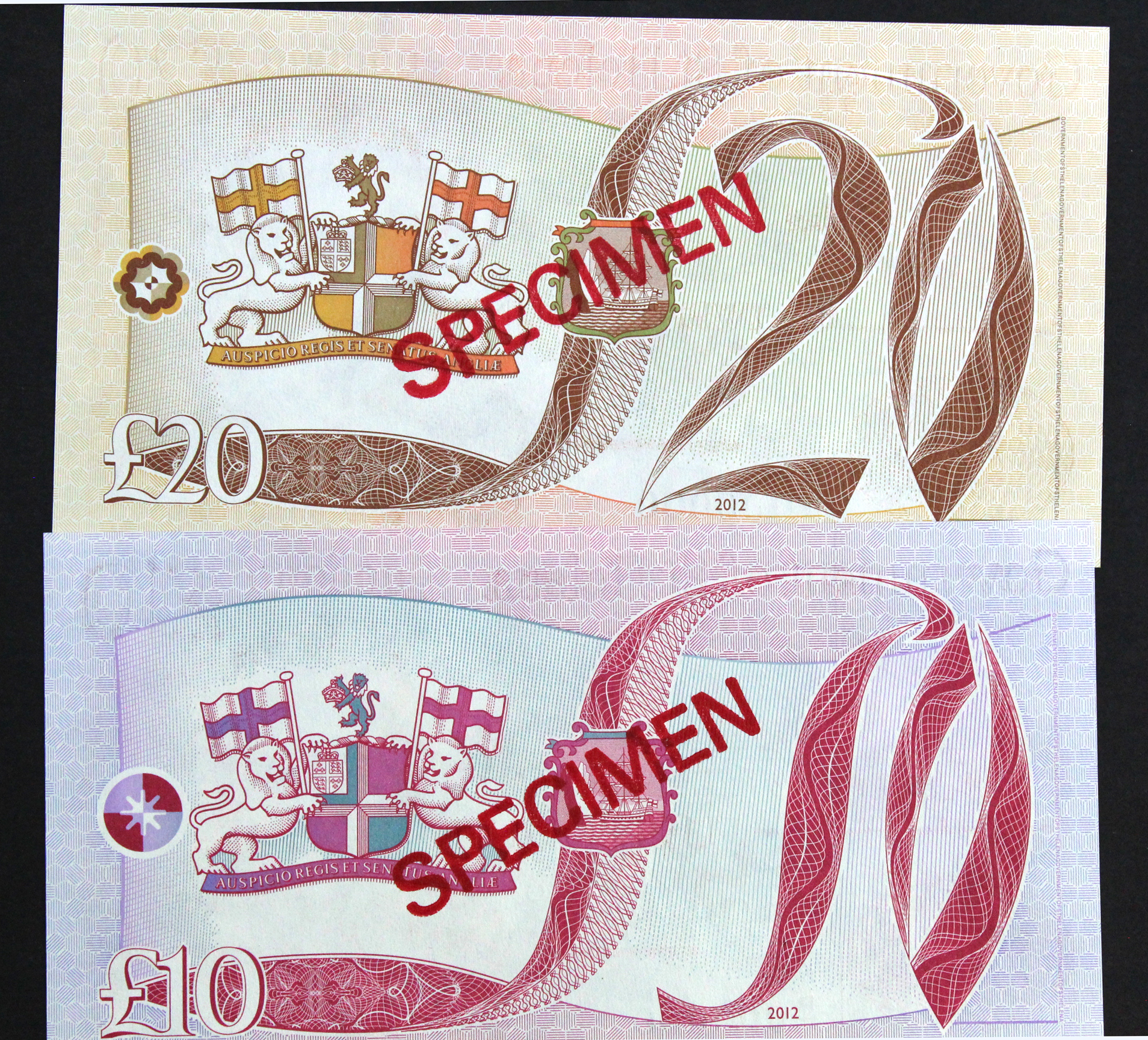St. Helena (2), 10 Pounds and 20 Pounds issued 2012, a pair of SPECIMEN notes, serial P/1 000000 & - Image 2 of 2