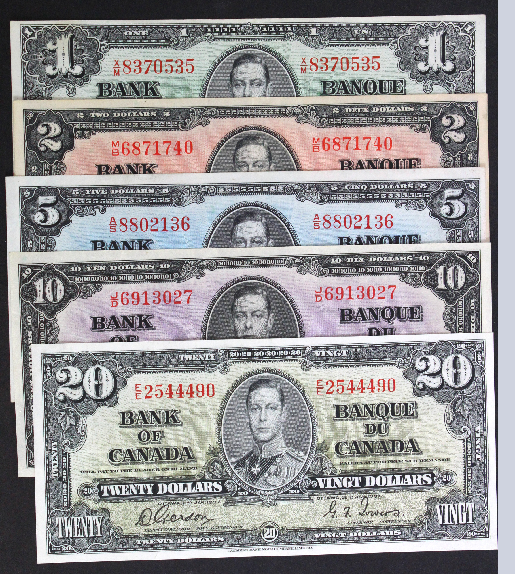Canada (5), a group of King George VI notes, 20 Dollars, 10 Dollars, 5 Dollars, 2 Dollars and 1