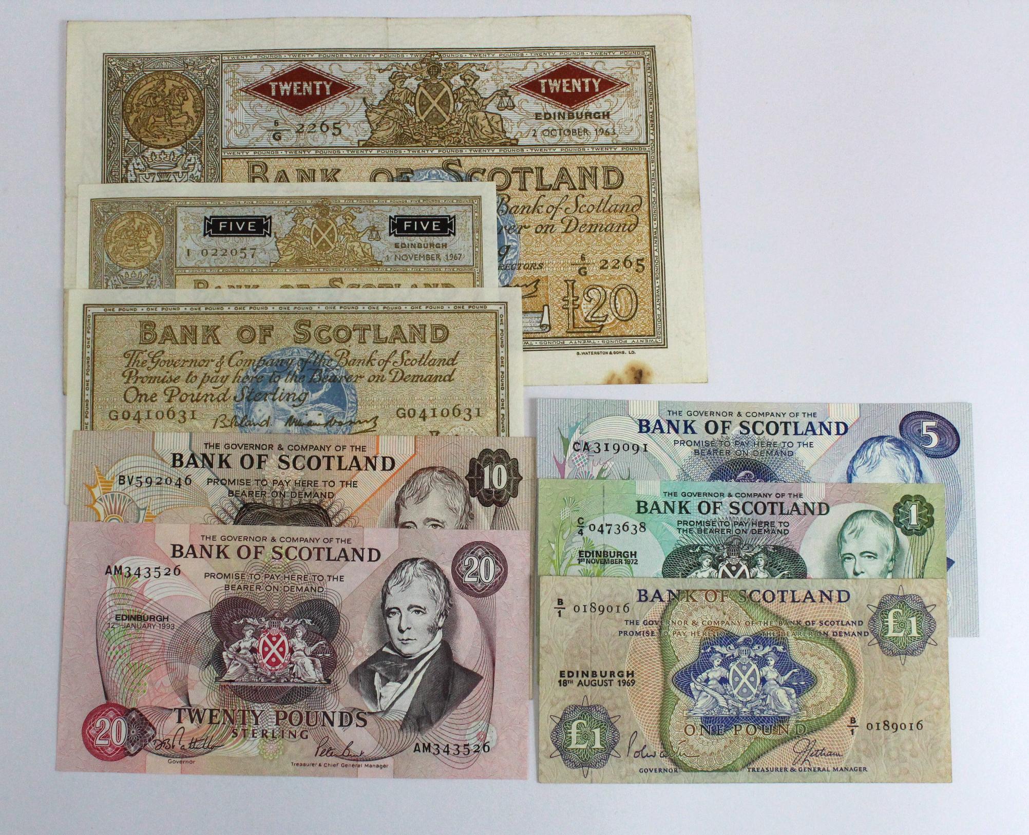 Scotland, Bank of Scotland (8), 20 Pounds dated 2nd October 1962, 5 Pounds dated 1st November