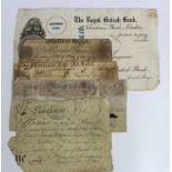 Provincial Notes (5), Huddersfield Bank 1 Guinea 1810, Gloucester City Old Bank 5 Pounds 1833,