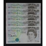 Gill 5 Pounds (5) issued 1990, comprising a FIRST RUN serial A01 168376 and a consecutively numbered
