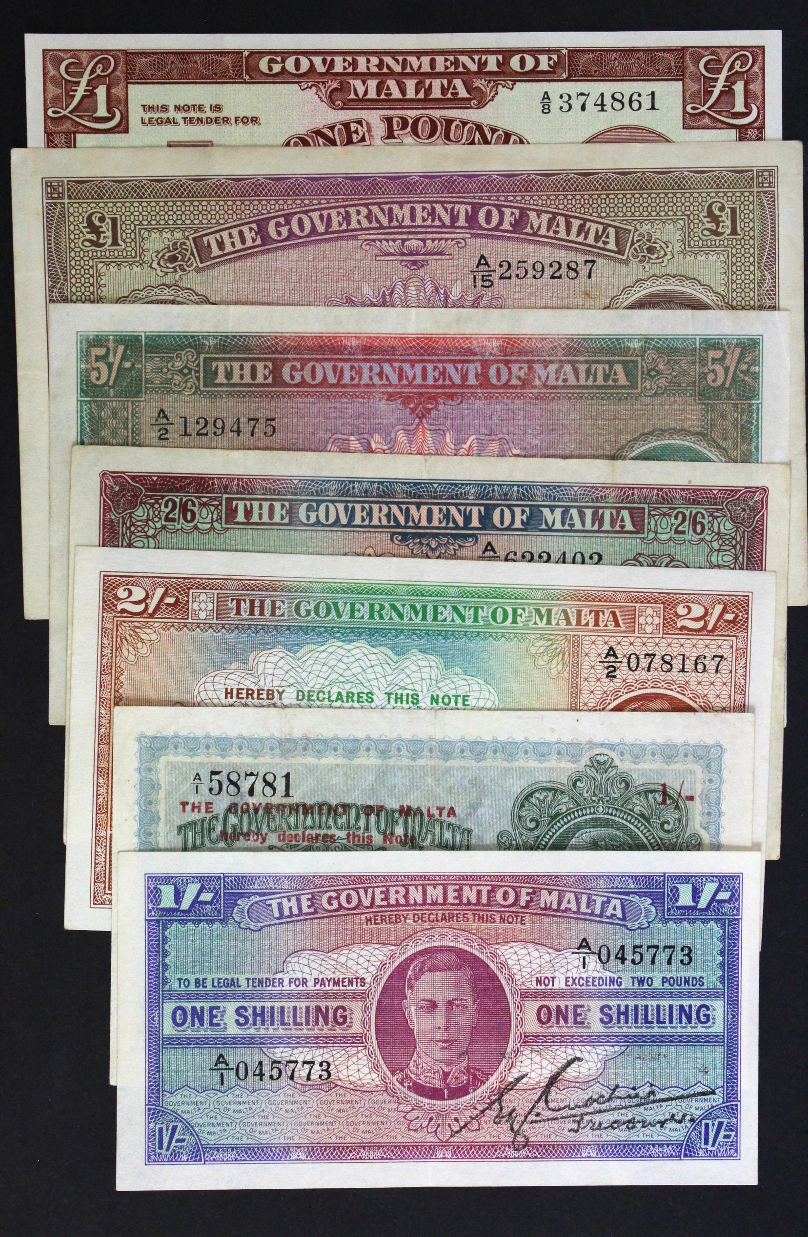 Malta (7), King George V and King George VI group, 1 Shilling overprint on 2 Shillings dated 1918 (