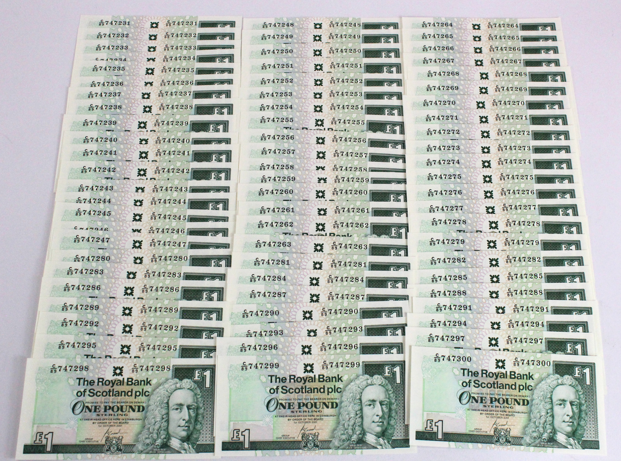 Scotland, Royal Bank of Scotland 1 Pound (70) dated 1st October 2001, a bundle of consecutively