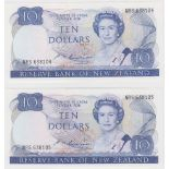 New Zealand 10 Dollars (2) issued 1985 - 1989, signed S.T. Russell, a consecutively numbered pair,