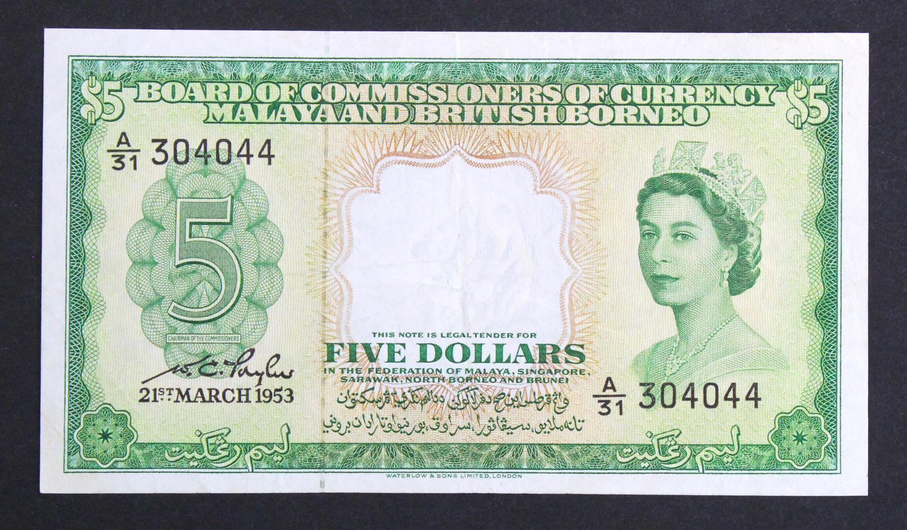 Malaya & British Borneo 5 Dollars dated 21st March 1953, serial A/31 304044 (TBB B102a, Pick2a)