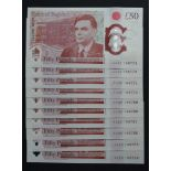 Sarah John 50 Pounds (10), new polymer issue with portrait of Alan Turing on reverse, a