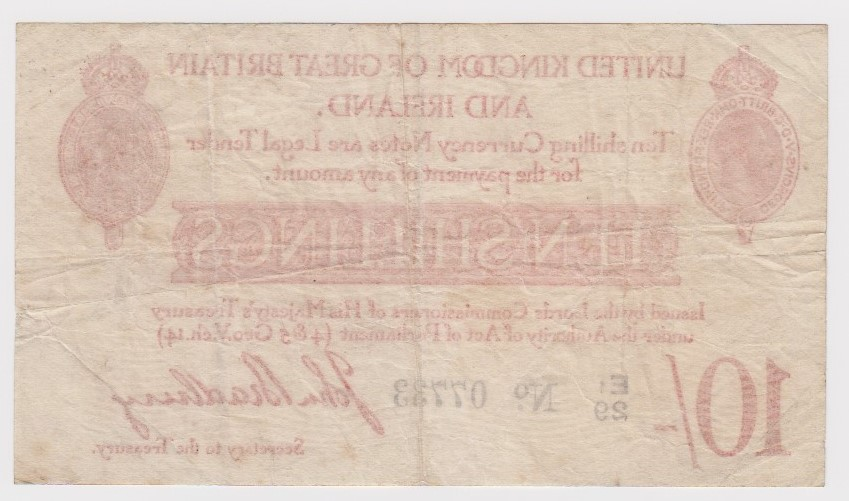 Bradbury 10 Shillings issued 1915, 5 digit serial number E1/29 07733 (T12.2, Pick348a) tiny centre - Image 2 of 2
