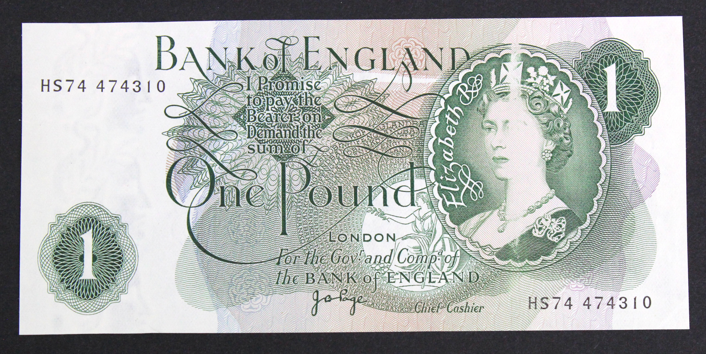 ERROR Page 1 Pound issued 1970, print flaw part of Queens portrait missing/smudged, serial HS74