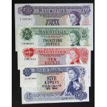 Mauritius (4), 50 Rupees, 25 Rupees, 10 Rupees and 5 Rupees issued 1967, Queen Elizabeth II portrait