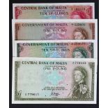 Malta (4), 1 Pound issued 1963 (Law 1949) signed Soler, serial A/1 625609 (TBB B125a, Pick26a)
