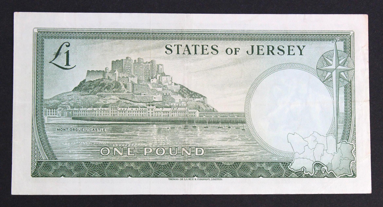 Jersey 1 Pound issued 1963, scarce ERROR - no signature, serial B098862 (TBB B108b, Pick8c) 2 - Image 2 of 2