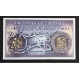 Guernsey 5 Pounds issued 1969, signed C.H. Hodder, serial B831682 (TBB B151b, Pick46b) light dents