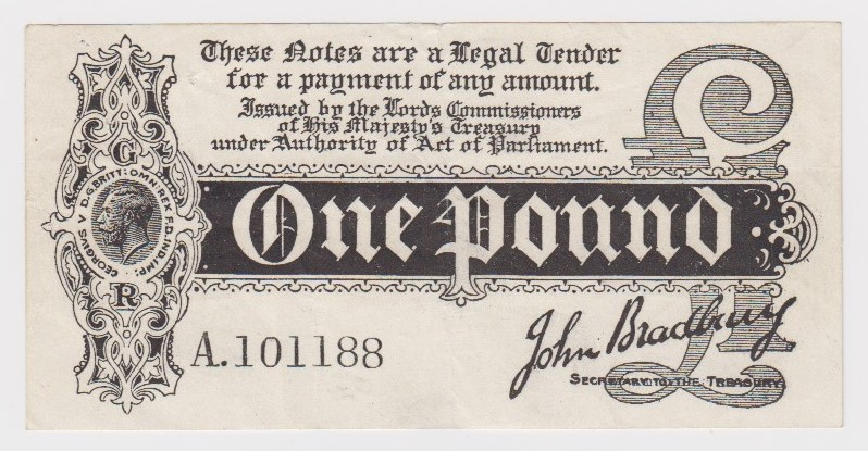 Bradbury 1 Pound issued 1914, serial A.101188, scarce with letters POST from the word 'postage' seen