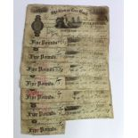 Stockton on Tees Bank 5 Pounds (7), issued 1879 - 1881, for Jonathan Backhouse & Company, all cut