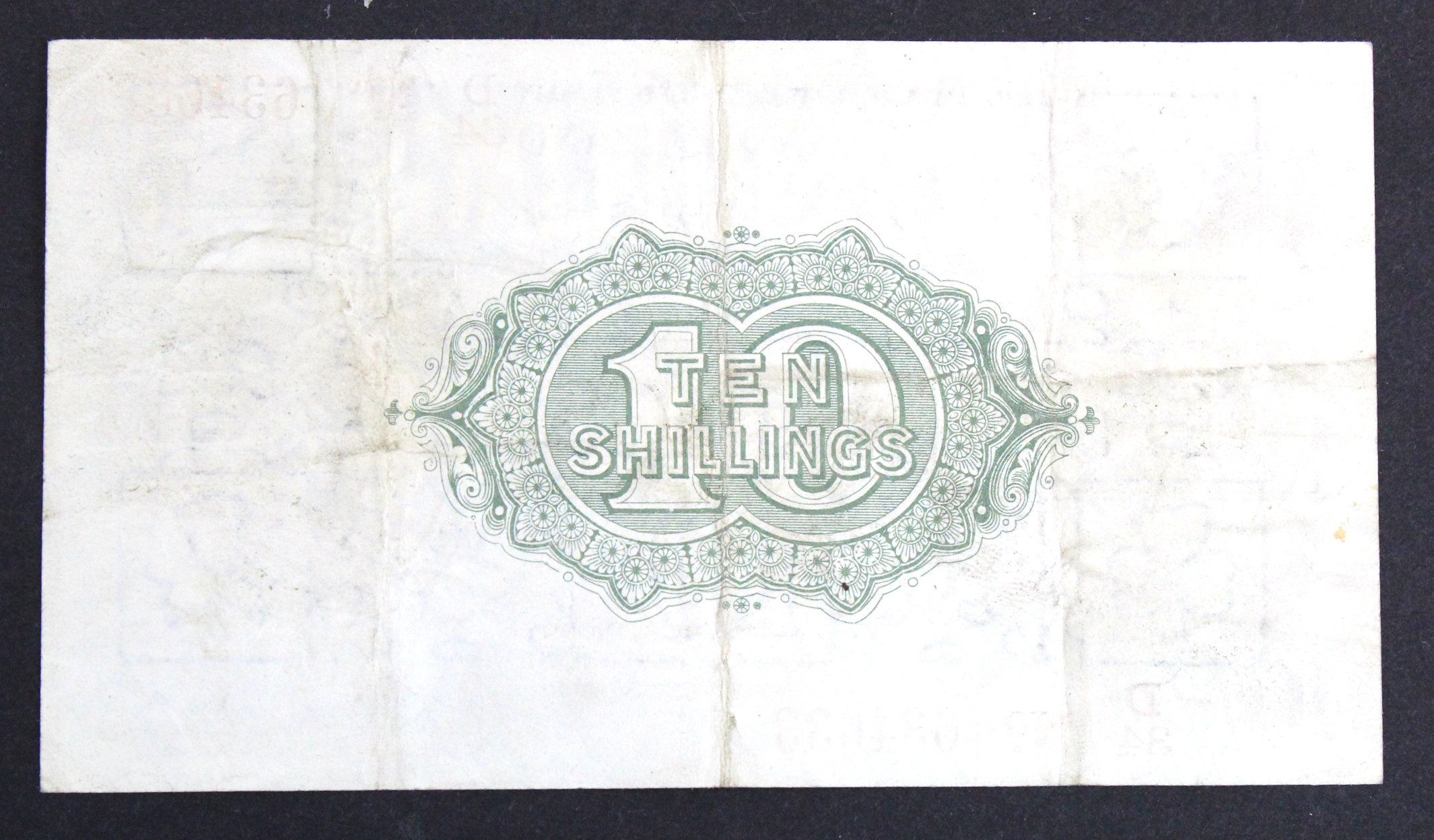 Warren Fisher 10 Shillings issued 1919, rarer FIRST SERIES, serial D/34 634633, No. with dot (T25, - Image 2 of 2