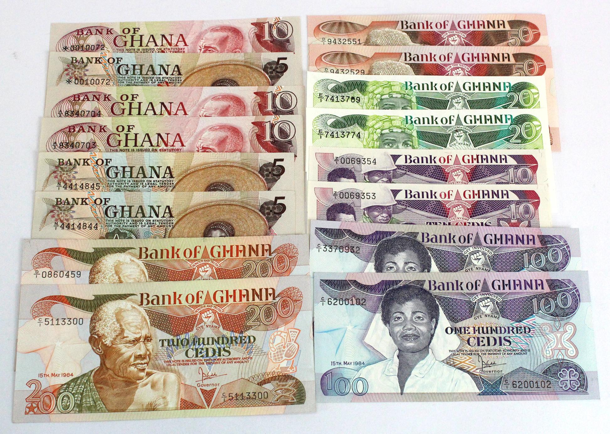 Ghana (16), 200 Cedis (2), 100 Cedis (2), 50 Cedis (2), 20 Cedis (2) & 10 Cedis (2), (these Z/1