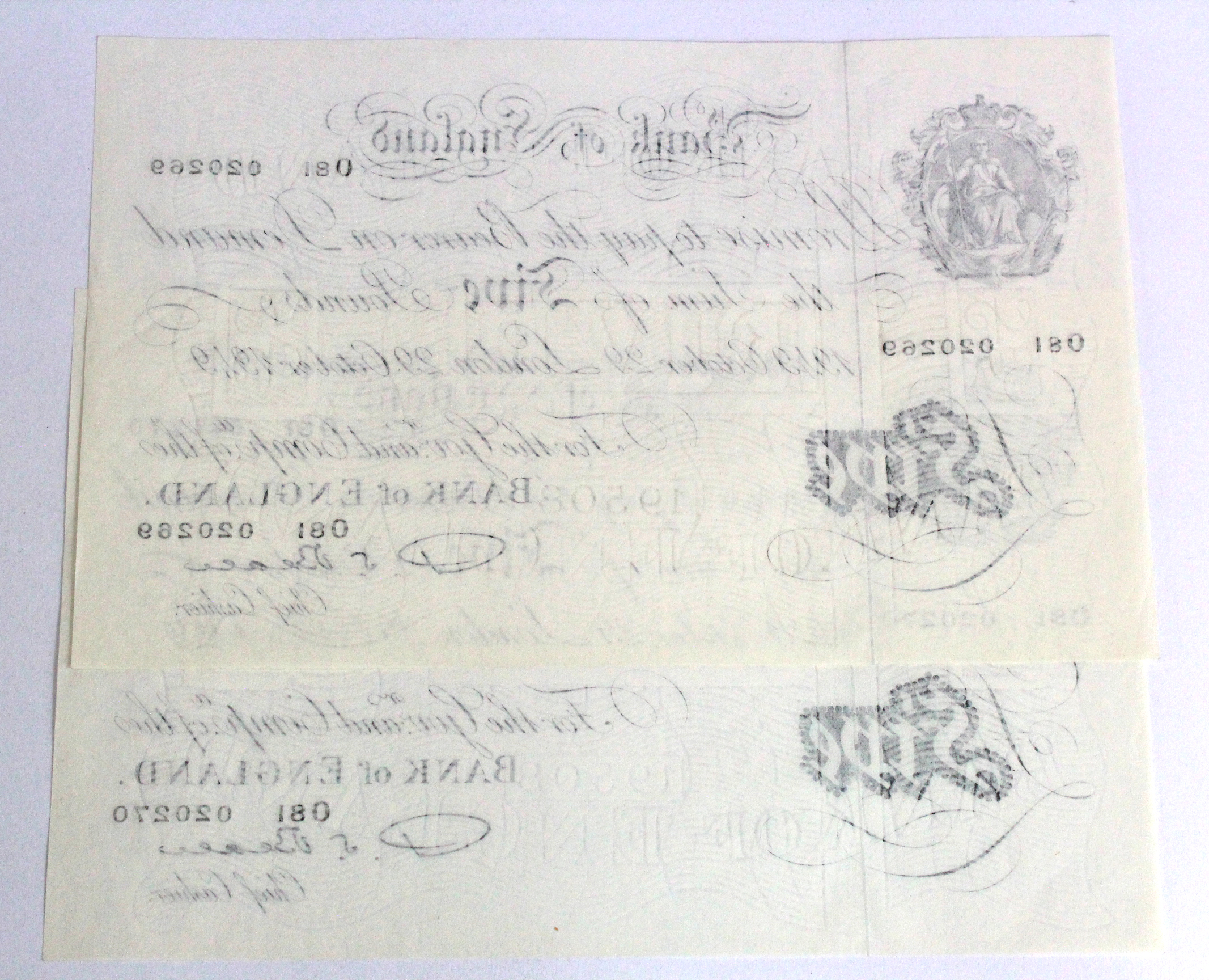 Beale 5 Pounds (2) dated 29th October 1949, a consecutively numbered pair, serial O81 020269 & O81 - Image 2 of 2