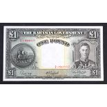Bahamas 1 Pound dated 1936 Currency Note Act (introduced 1947), portrait King George VI at right,