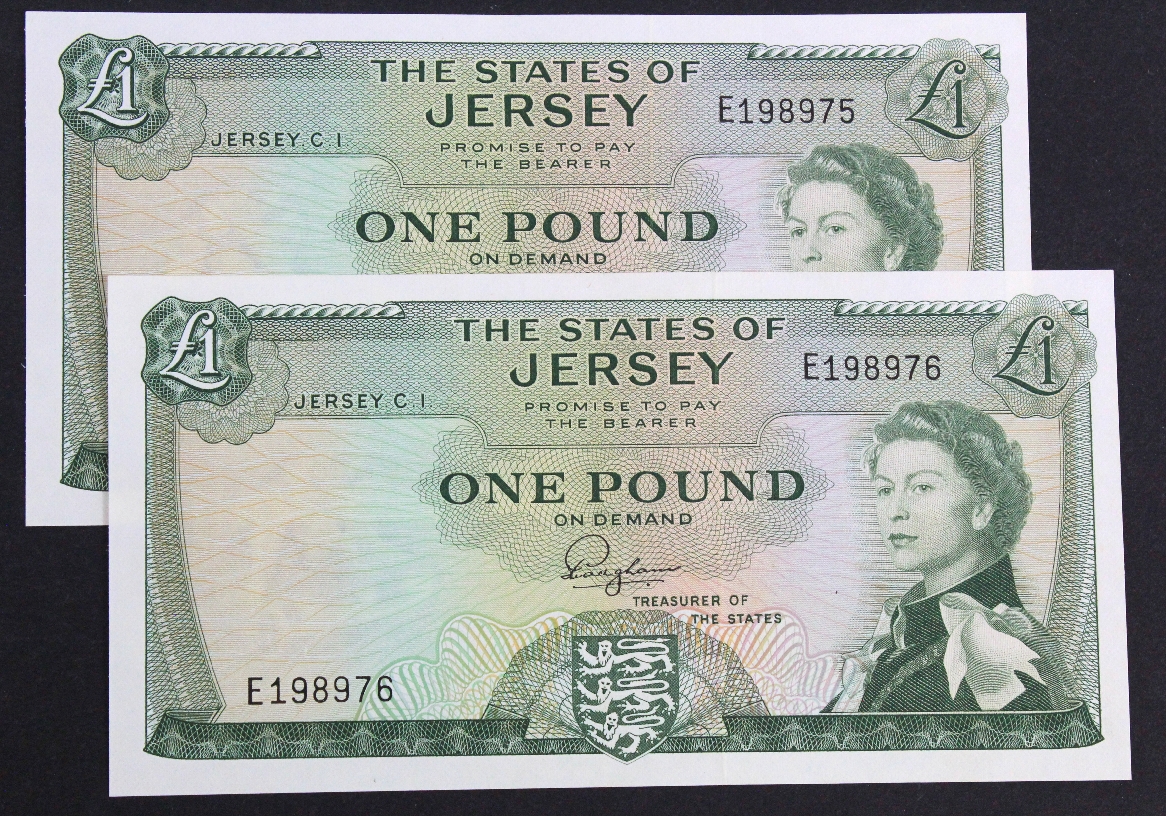 Jersey 1 Pound (2) issued 1963, signed F.N. Padgham, a consecutively numbered pair, serial E198975 &