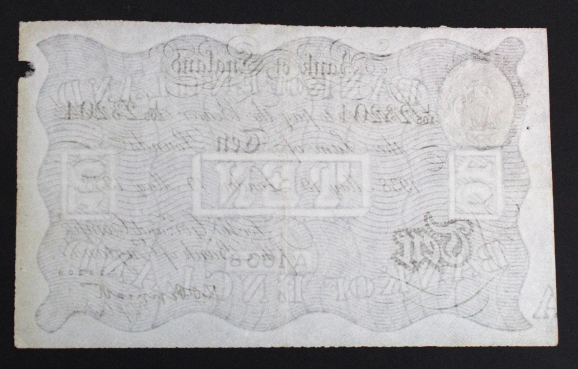 Peppiatt 10 Pounds BERNHARD note dated 19th May 1938, serial L/105 23204 (B242 for type) WW2 - Image 2 of 2
