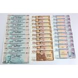 Iceland (30), 100 Kronur (10), 50 Kronur (10) and 10 Kronur (10) dated 1961, some consecutively