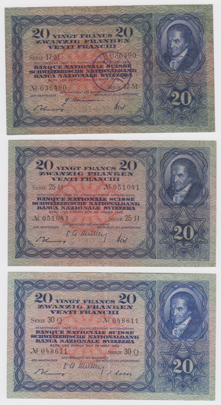 Switzerland 20 Franken (3), dated 28th March 1952 serial 30Q 048611, 20th January 1949 serial 25H
