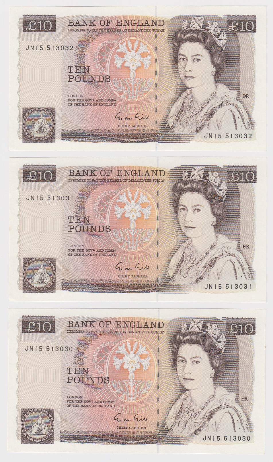 Gill 10 Pounds (3) issued 1988, a consecutively numbered run, serial JN15 513030 - JN15 513032 (