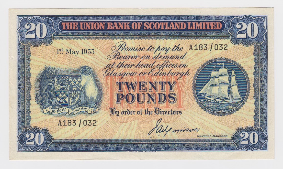 Scotland, Union Bank 20 Pounds dated 1st May 1953, LAST DATE of issue, signed John A. Morrison,