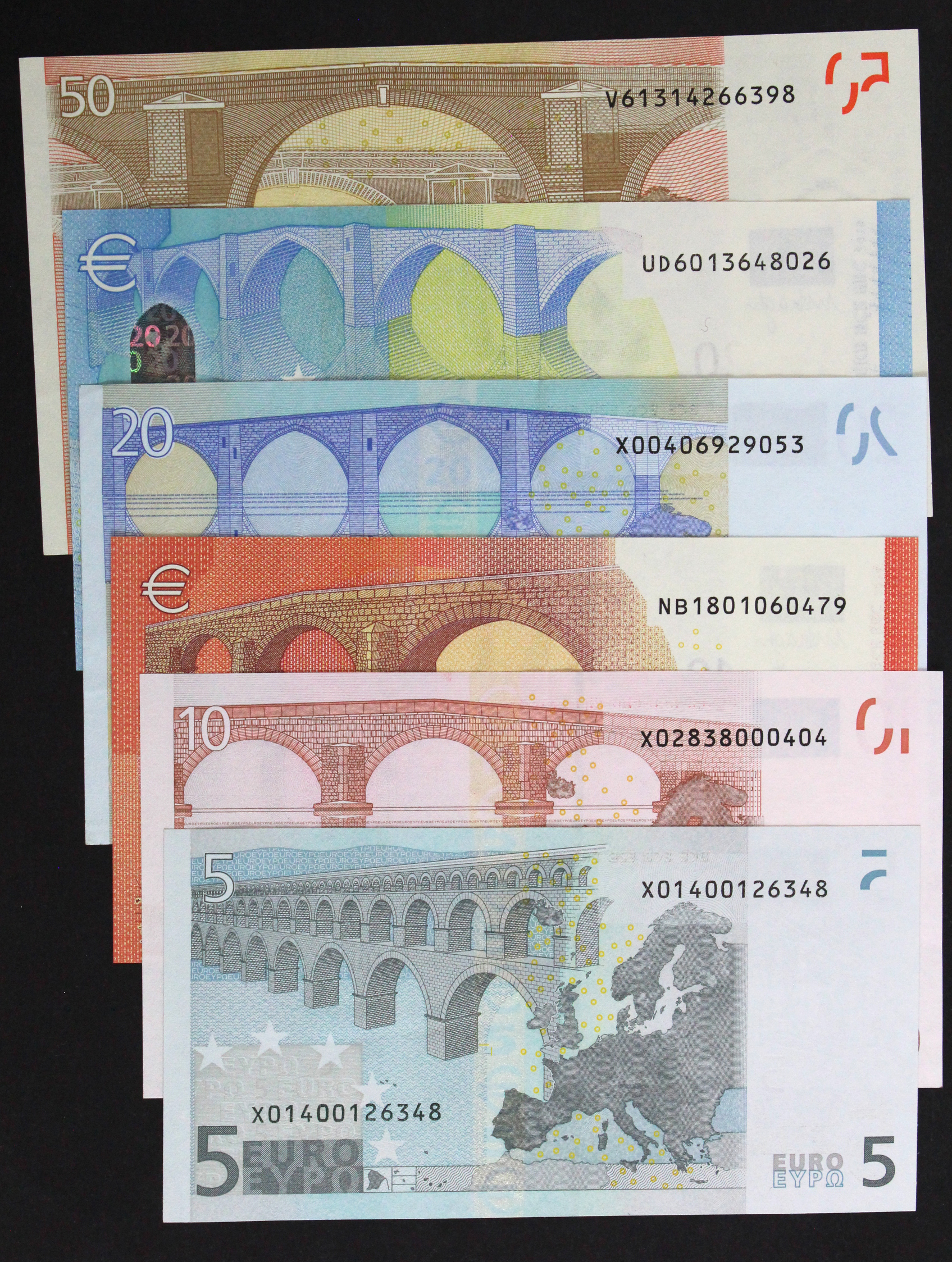 European Union (6), 50 Euro dated 2002, 20 Euro dated 2002 & 2015, 10 Euro dated 2002 & 2014, 5 Euro - Image 2 of 2