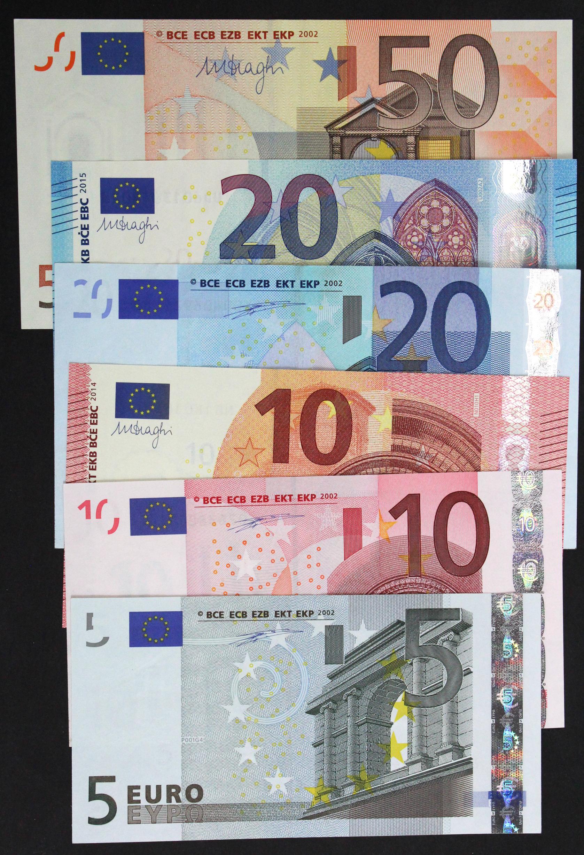 European Union (6), 50 Euro dated 2002, 20 Euro dated 2002 & 2015, 10 Euro dated 2002 & 2014, 5 Euro