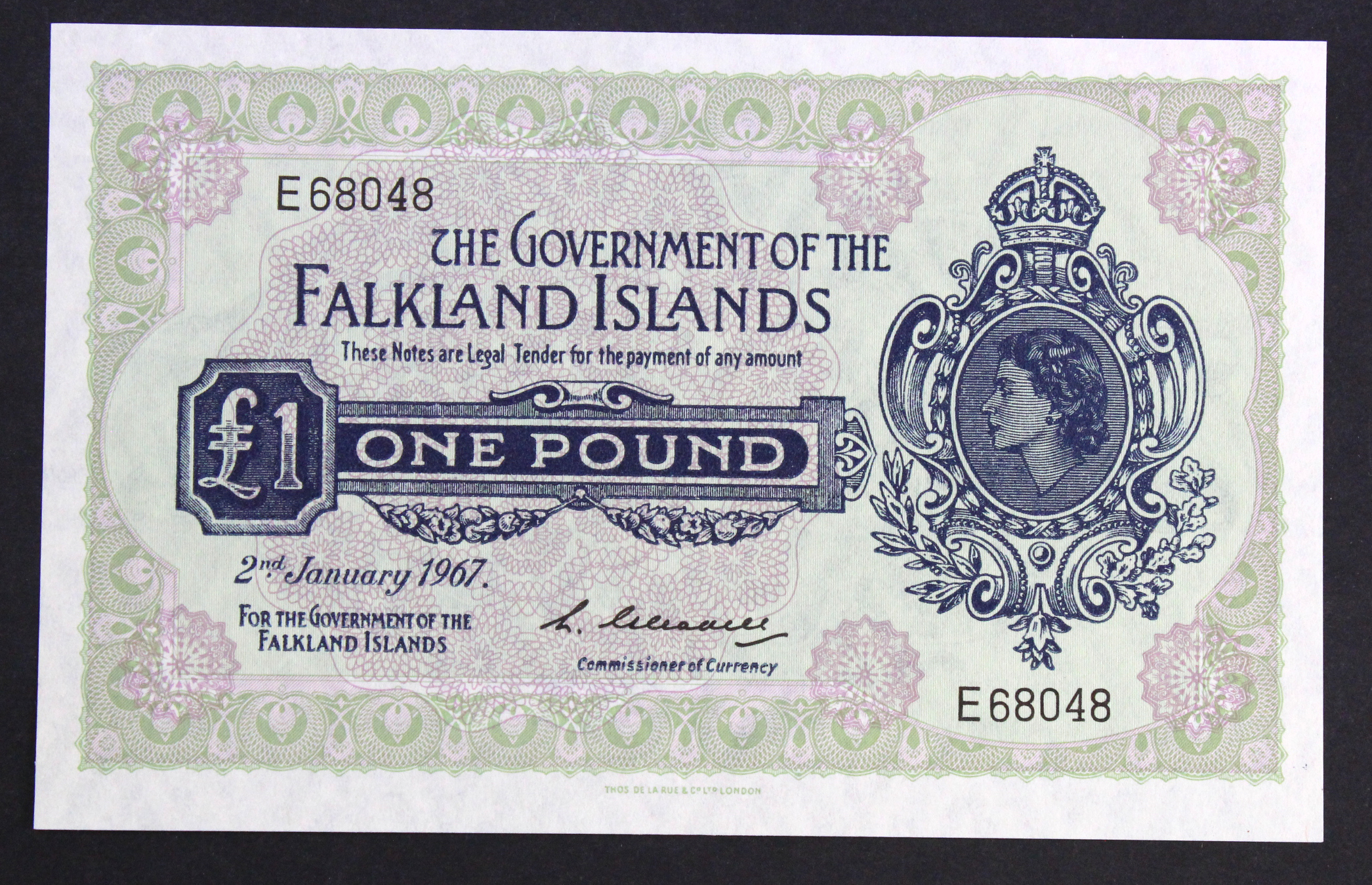 Falkland Islands 1 Pound dated 2nd January 1967, scarcer first date of issue, serial E68048 (TBB