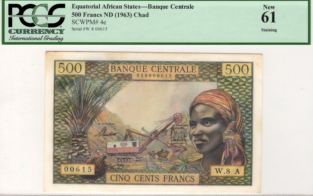 Equatorial African States, Chad 500 Francs issued 1963, serial W.8 00615, (Pick4e) in PCGS holder