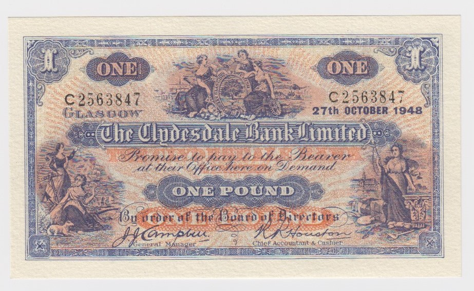 Scotland, Clydesdale Bank 1 Pound dated 27th October 1948, signed John Campbell & R. R. Houston,