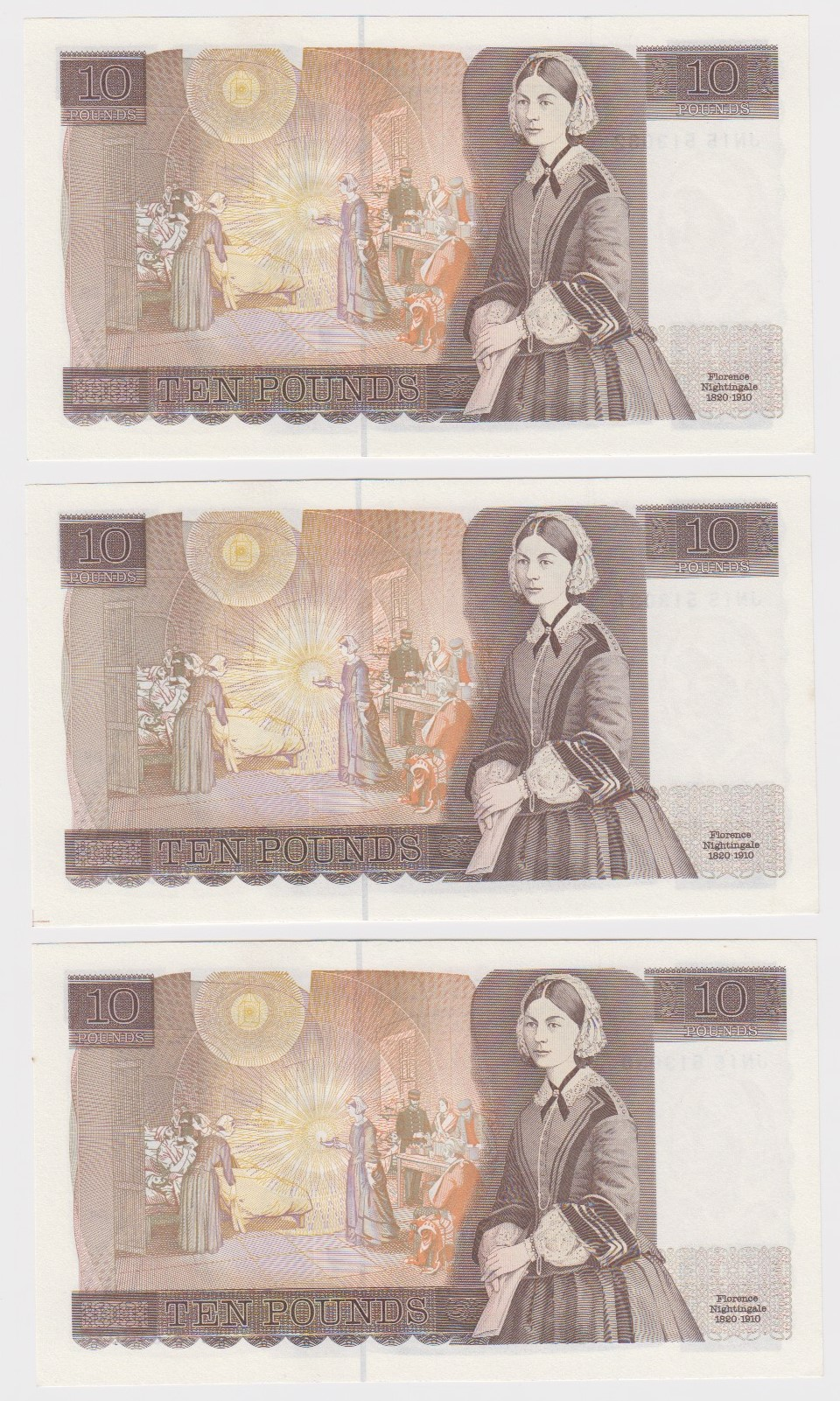 Gill 10 Pounds (3) issued 1988, a consecutively numbered run, serial JN15 513030 - JN15 513032 ( - Image 2 of 2
